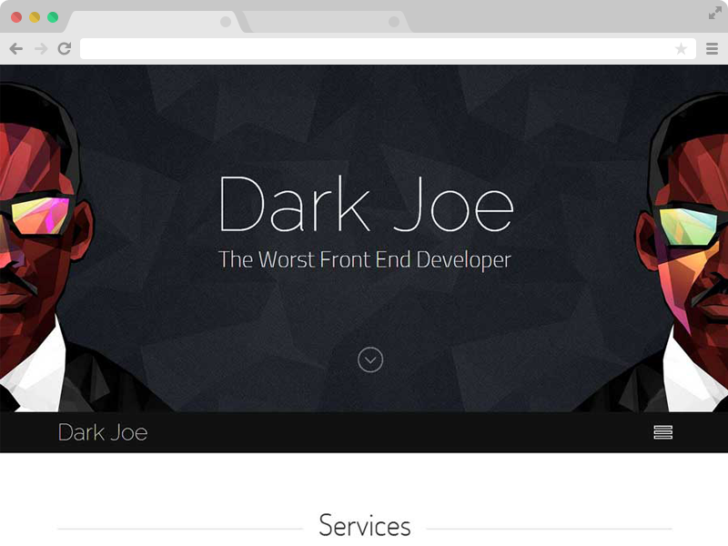 Dark Joe Responsive One Page Personal Website Template - Free responsive personal website templates