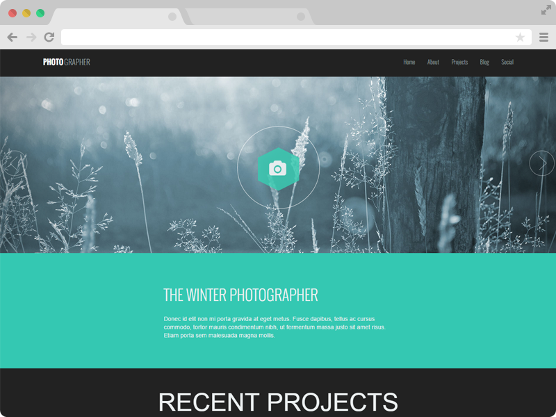 responsive one page photography website template photographer