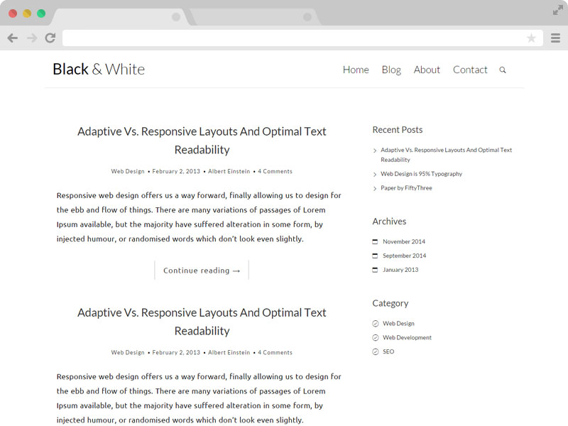 Black N White Clean Responsive Blog Template