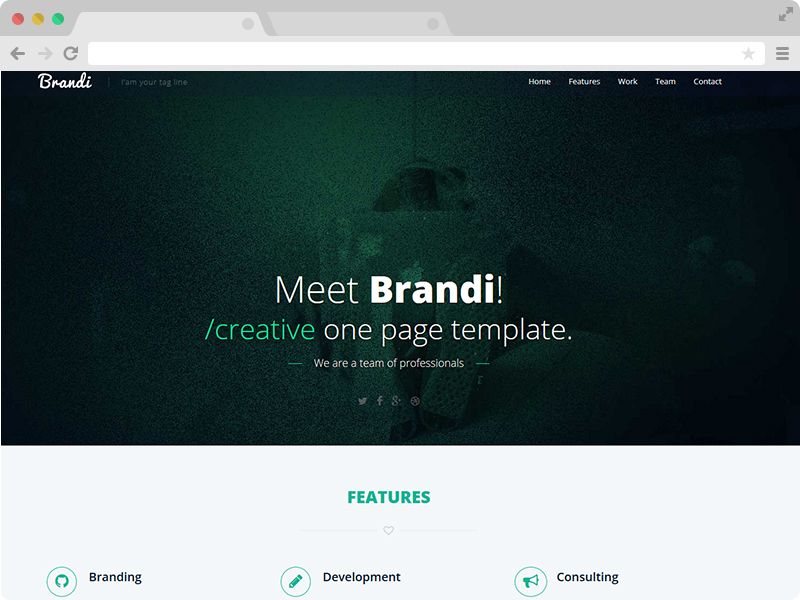 free one page responsive html5 business template brandi