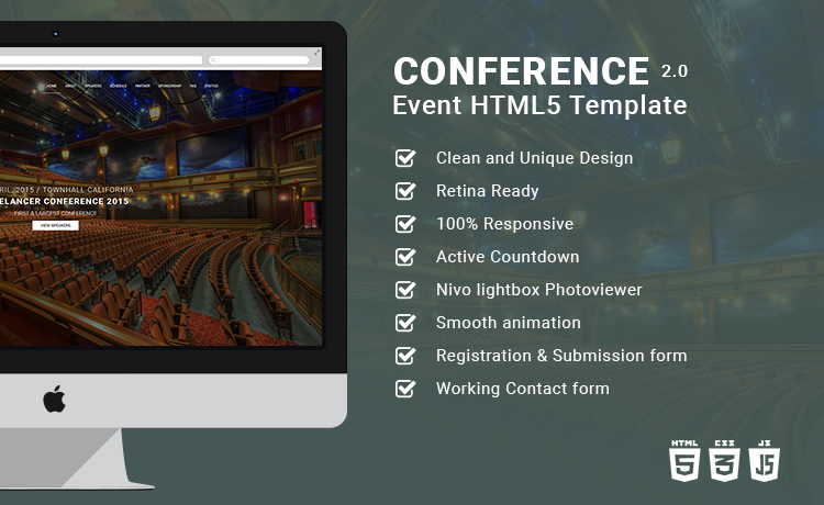 Event Planning Bootstrap Html5 Template Conference