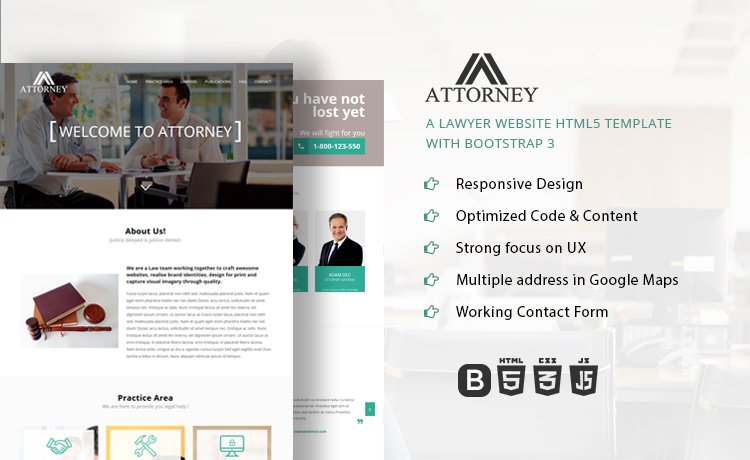 Attorney Lawyer Website HTML Template Bootstrap - Lawyer website template