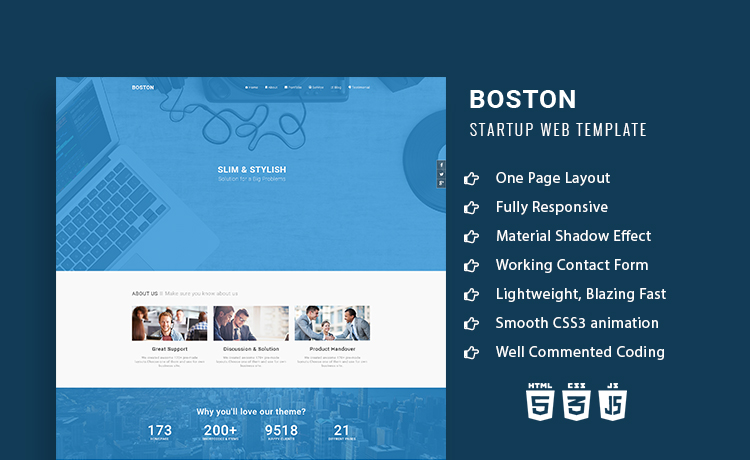Boston- Responsive Onepage Multipurpose Agency HTML5 Template