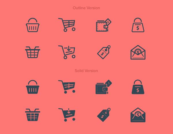 different types of purchase buy icons