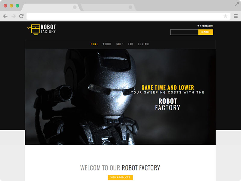 free bootstrap multipage product showcase template robot factory