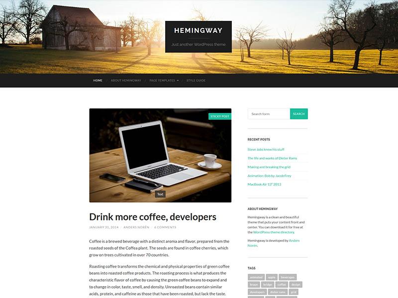 Hemingway - Most Popular Free WordPress Blog Theme