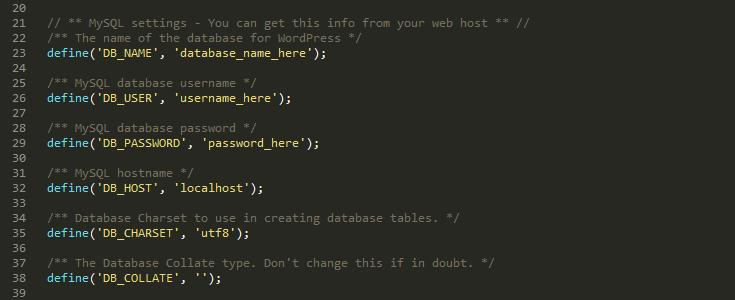 database set up