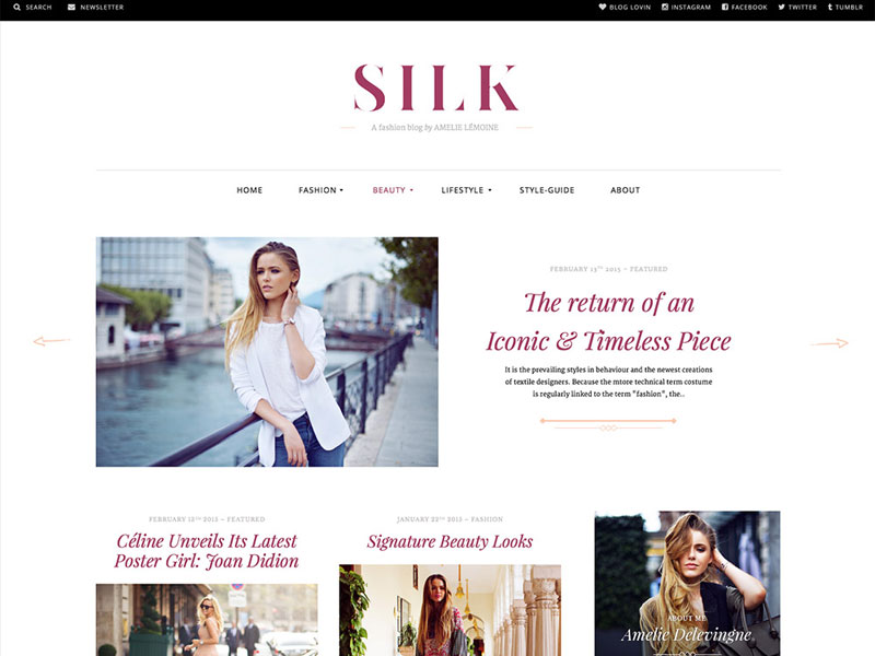 Free fashion blogging WordPress theme