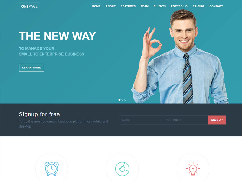 Perfect One Page Responsive Bootstrap Template for Small Business