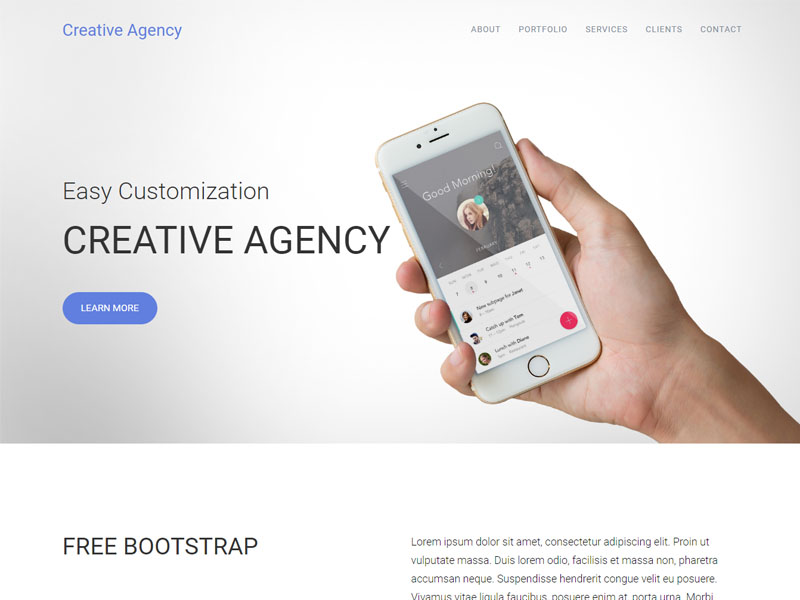 Free Responsive One Page Bootstrap Agency Template With Twitter - Free responsive personal website templates