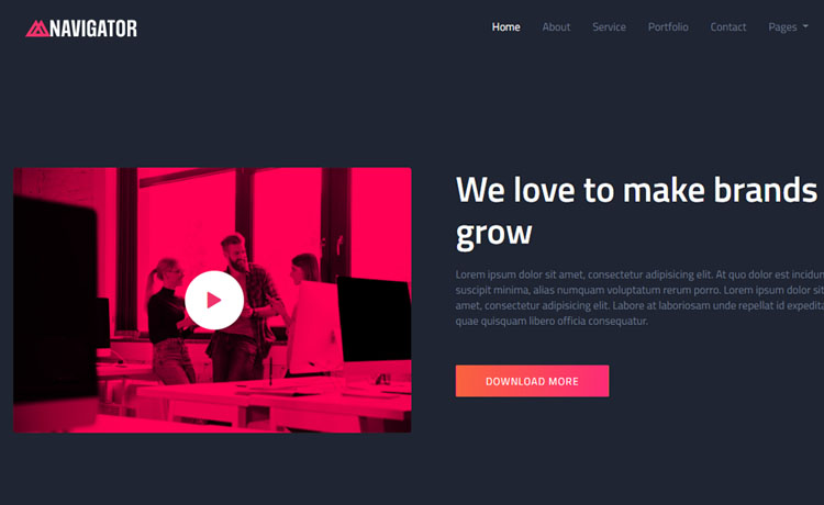 one page bootstrap free template