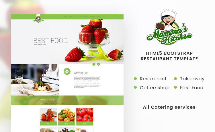 Elegant Restaurant Website Template with HTML5 & Bootstrap 3