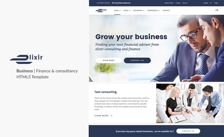 Elixir - Elegant HTML5 Bootstrap Template for Consultancy Agency Site