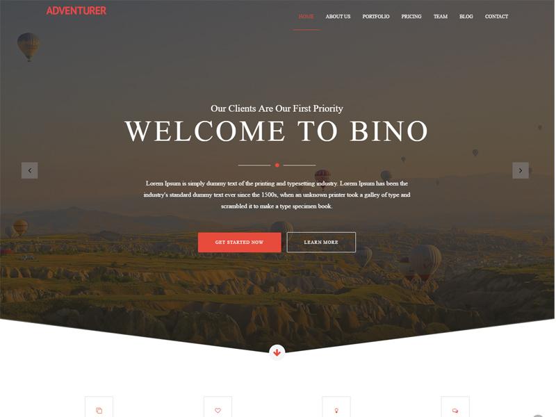 Creative Free Bootstrap Template bino