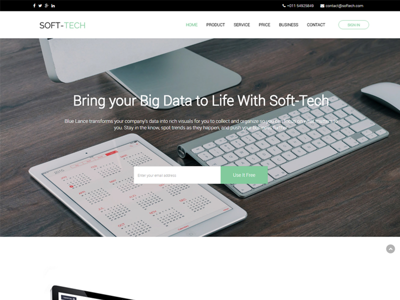 Sass Landing Page Bootstrap Template Free Download Soft Tech