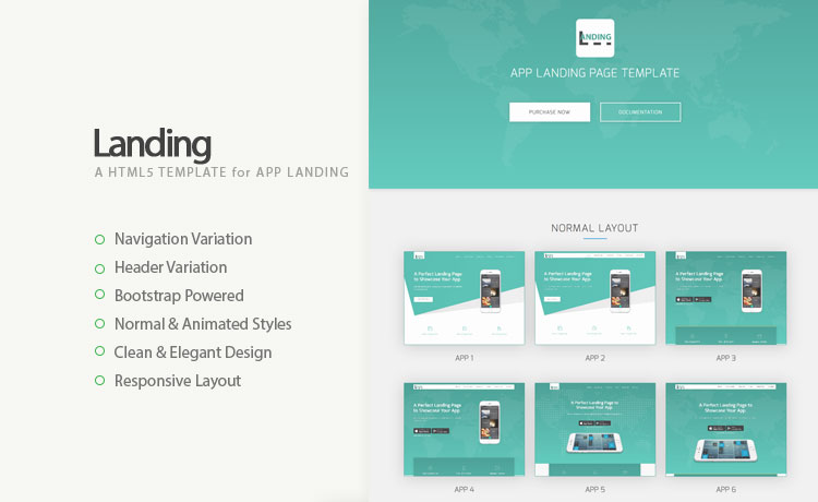 High-quality Responsive App Landing Page Template