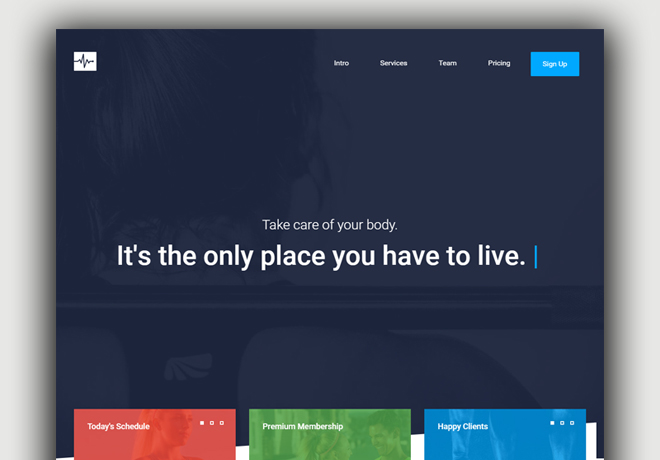 zHospital free gym fitness bootstrap website templates