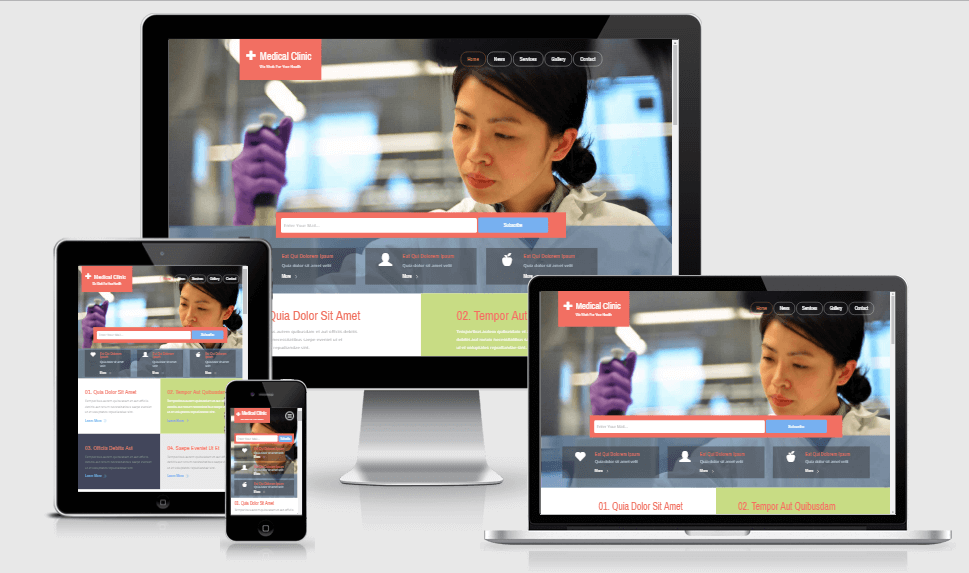 Medical Clinic free gym fitness bootstrap website templates