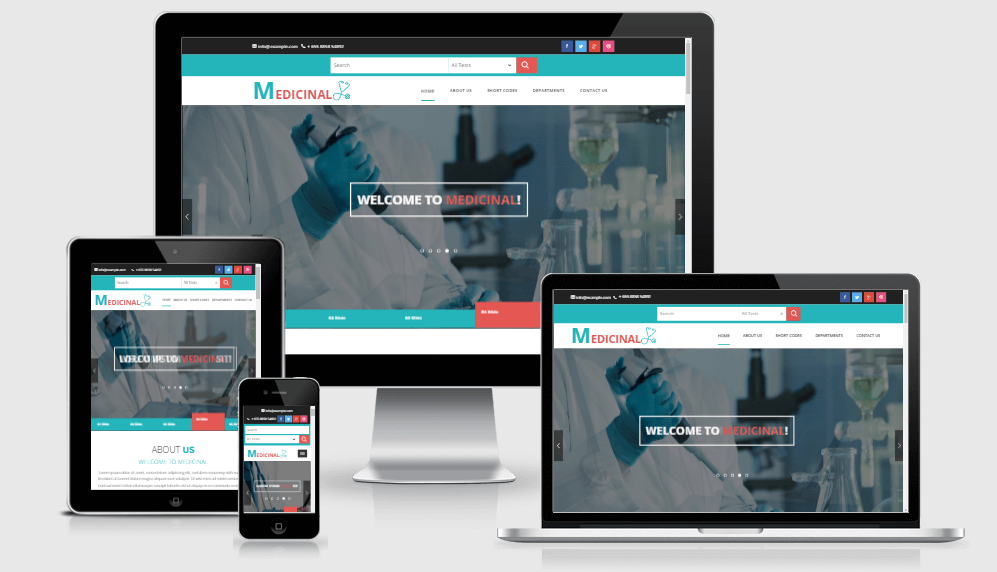 Medicinal free gym fitness bootstrap website templates