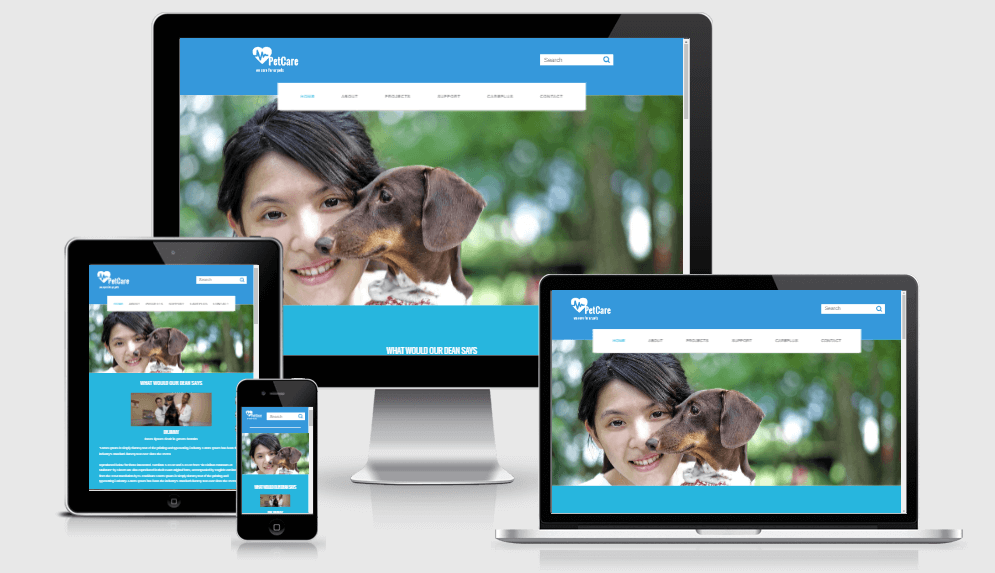 Petcare free gym fitness bootstrap website templates