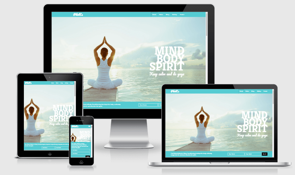 Pilates free gym fitness bootstrap website templates