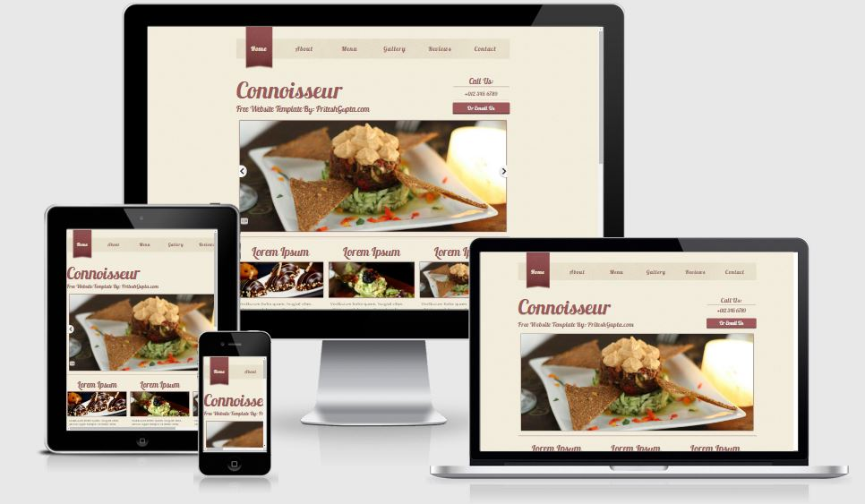 Connoisseur HTML5 Bootstrap based free restaurant template download