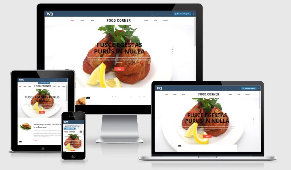 Food Corner HTML5 Bootstrap based free restaurant template download