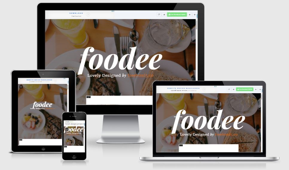 Foodee HTML5 Bootstrap based free restaurant template download