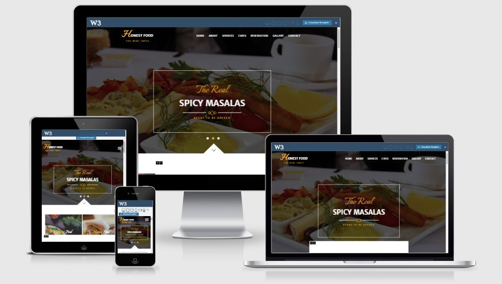 Honest Food HTML5 Bootstrap based free restaurant template download