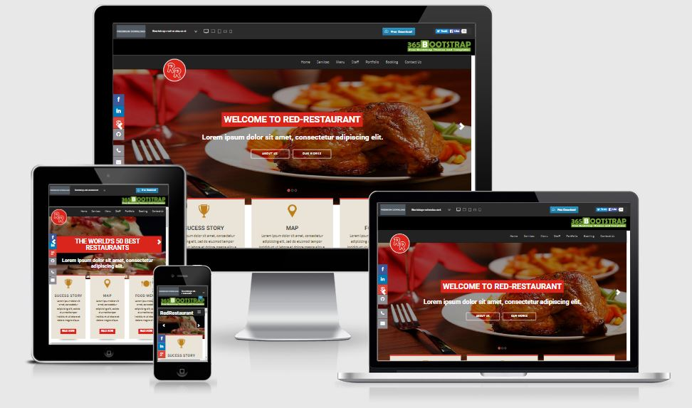 Red Restaurant HTML5 Bootstrap based free restaurant template download