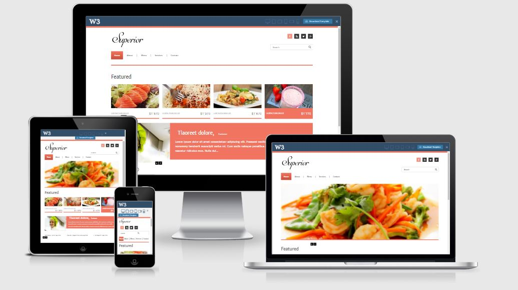 Superior HTML5 Bootstrap based free restaurant template download