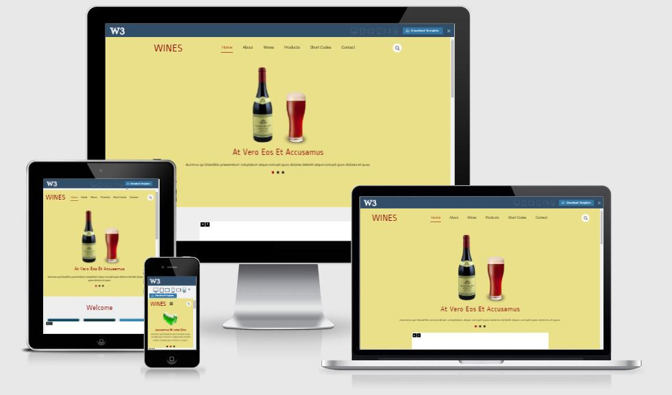 Wines HTML5 Bootstrap based free restaurant template download