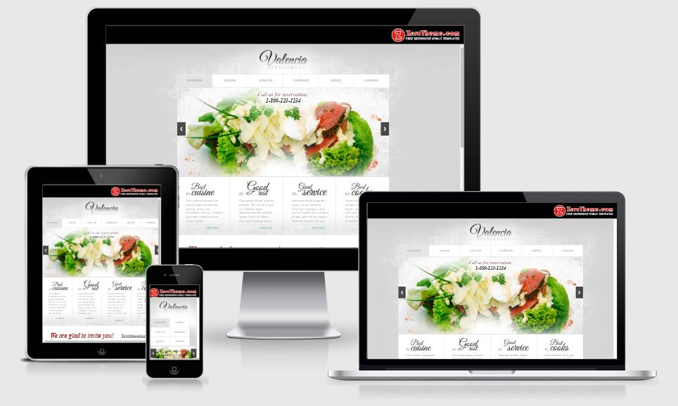 zValencia HTML5 Bootstrap based free restaurant template download