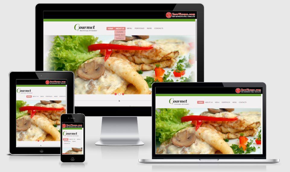 zGourmet HTML5 Bootstrap based free restaurant template download