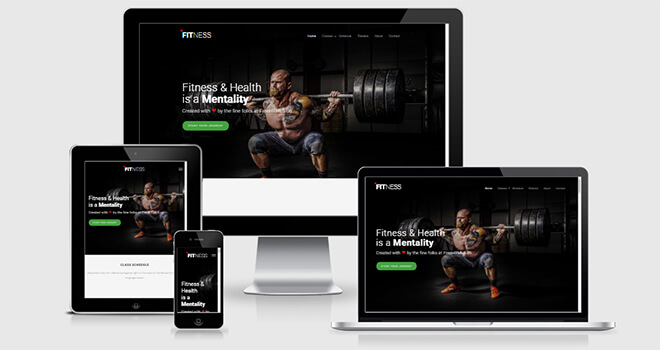 100. Fitness free responsive bootstrap template