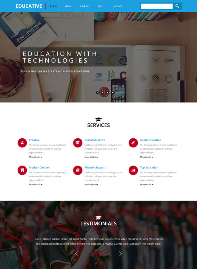 Educative - free online education website template