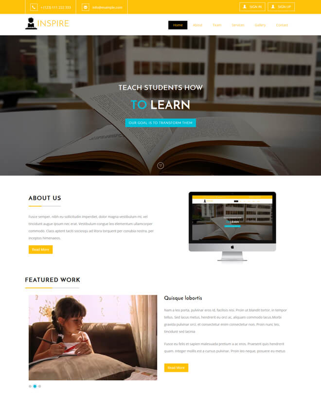 Inspire - free online education website template