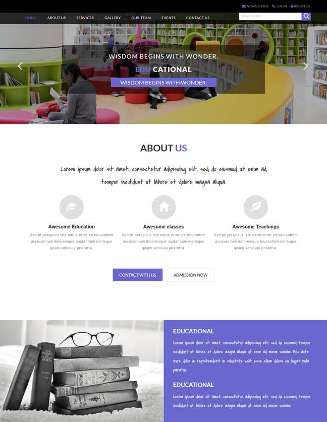Educational - free online education website template