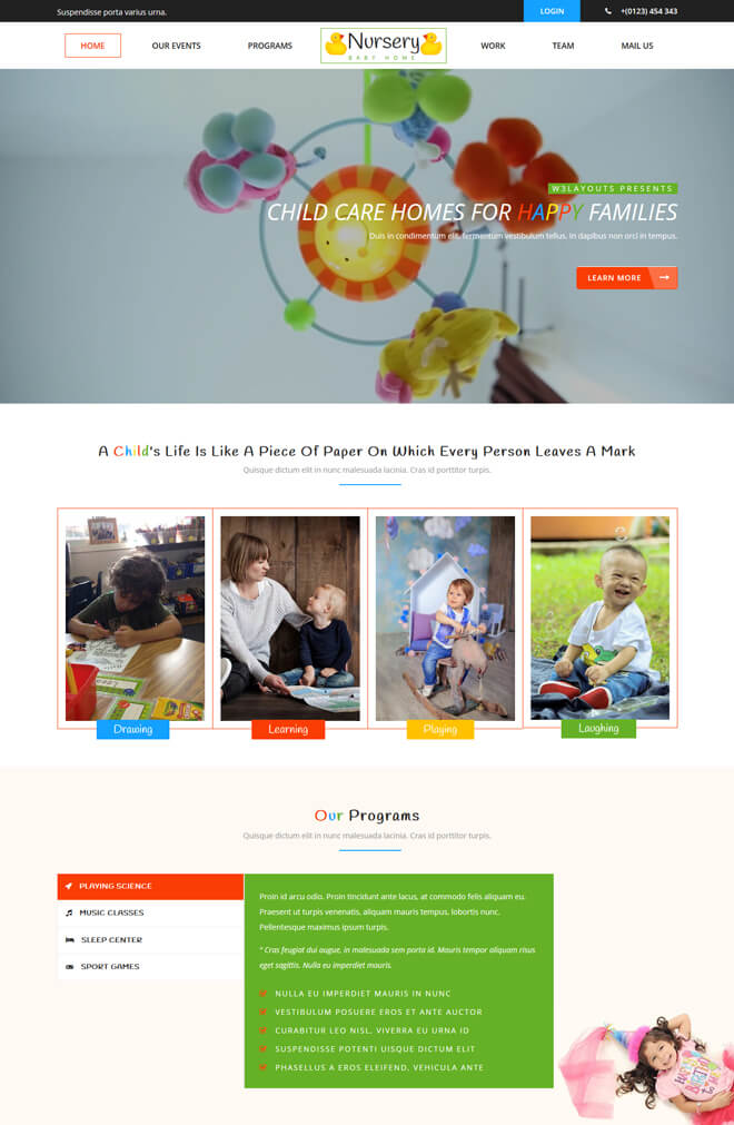 Nursery - free online education website template