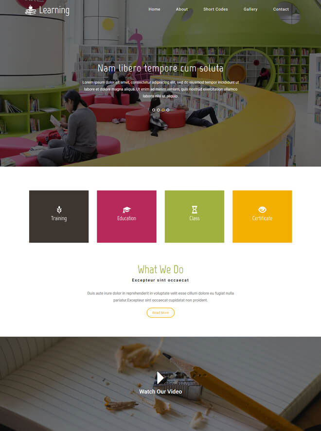 Learning - free online education website template