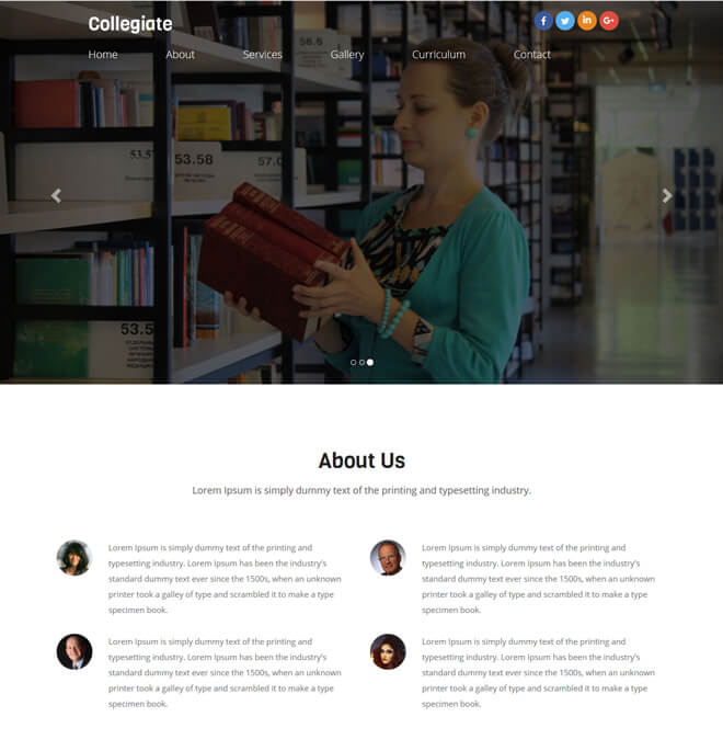 Collegiate - free online education website template