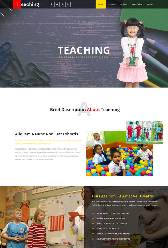 Teaching - free online education website template