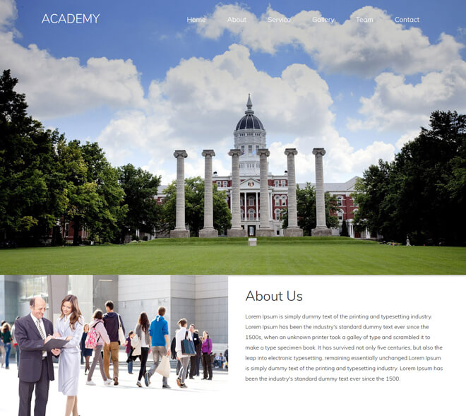 Academy - free online education website template