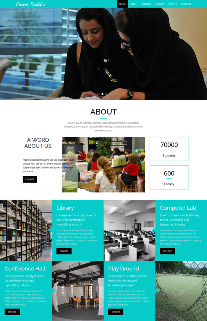 Carrier Builder - free online education website template