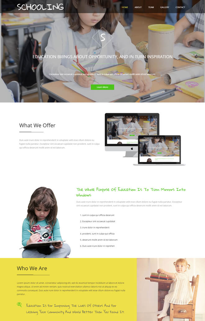 Schooling - free online education website template