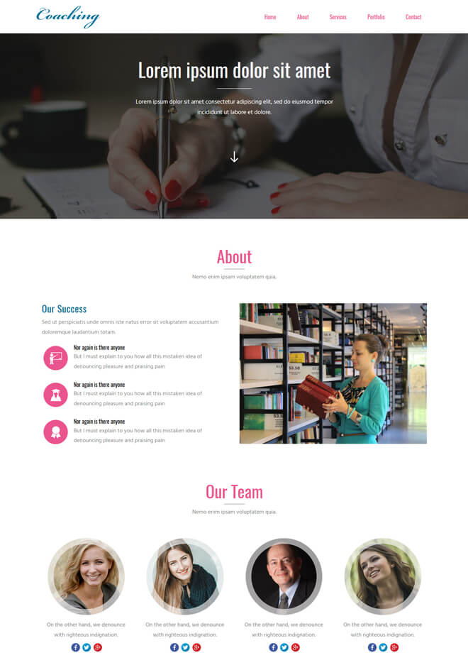 Coaching - free online education website template