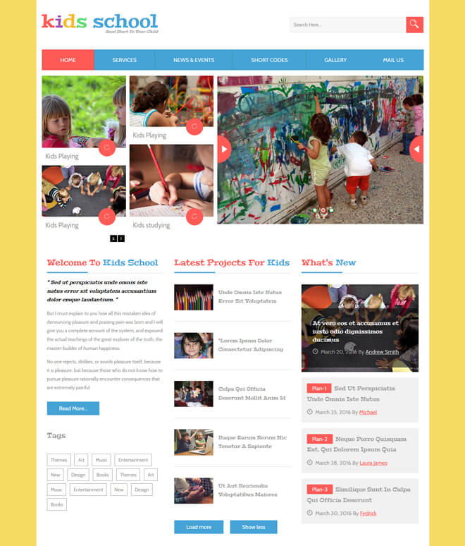 Kids Schools - free online education website template