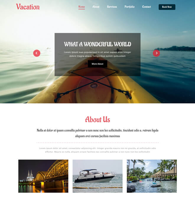 vacation travel website html5 bootstrap template