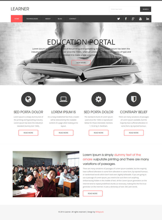 Learner - free online education website template