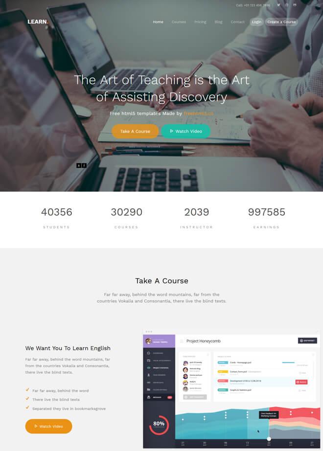 Learn - free online education website template